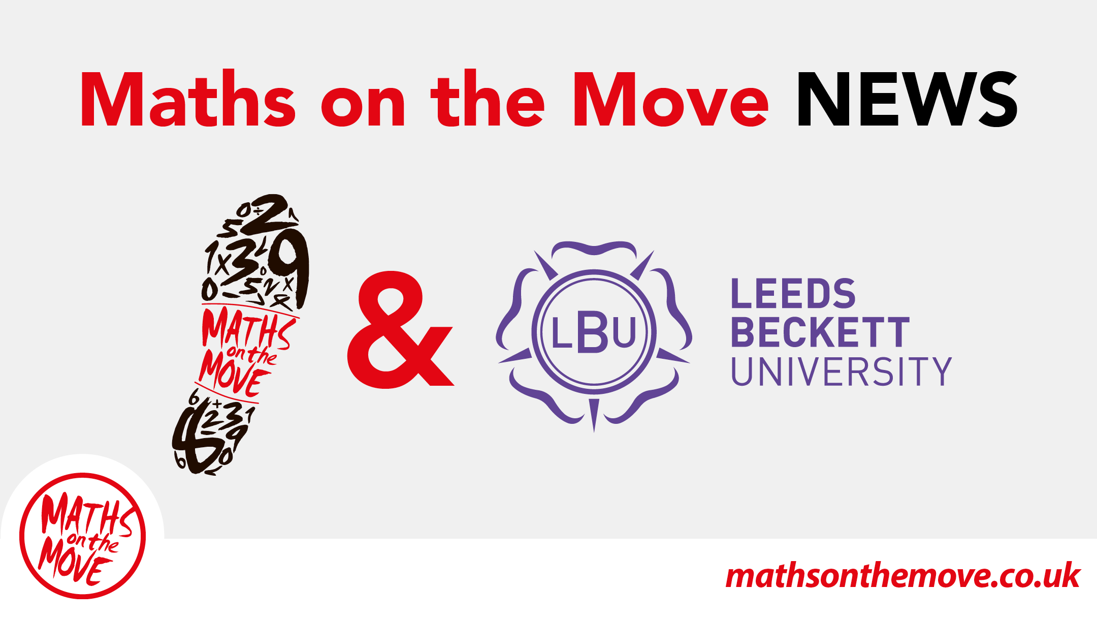 title reads Maths on the Move News below which is the maths on the move logo and leeds beckett university logo.